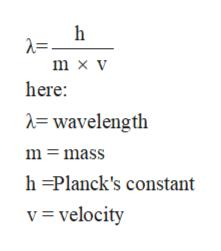 h m x v here: = wavelength m mass h =Planck's constant v= velocity