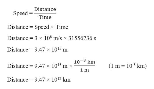 Distance Speed Time Distance Speed x Time Distance 3 x 108 m/s x 31556736 s Distance 9.47 x 1015 m 10 3 km Distance (1 m 103 km) 9.47 x 1015 m x 1 m Distance 9.47 x 1012 km