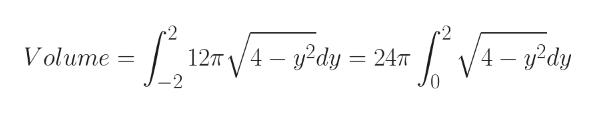 -2 2 12T /4 2dy= 247 V4dy Volume V 2