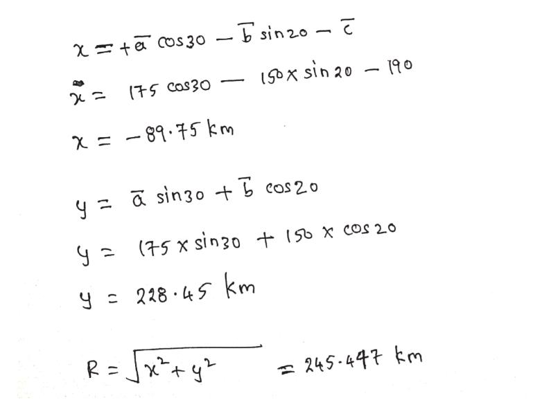 Sx sin 20 75Cas30 x -89.75 km (75 x sin30 t 150 X cos 20 228 45 km R= 245-447 m (1 J JI