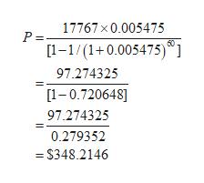 17767 x 0.005475 P = 60 [1-1/(1+0.005475)] 97.274325 [1-0.720648] 97.274325 0.279352 =S348.2146