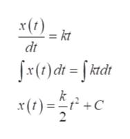 = kt dt ()di = [ ktdt 2 +C x(1) 2