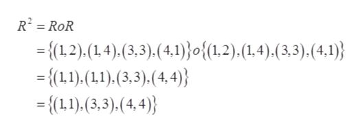 R² = RoR %3D = {(1,2),(1,4),(3,3).(4,1)}o{(1,2).(1.4).(3,3).(4.1)} = {(1,1).(1),(3,3).(4,4)} = {(11),(3,3),(4,4)}