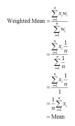 Σχμ Weighted Mean Σν 1 Σχ n n 1 Σ n 1 =Mean