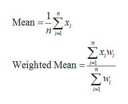 1. Mean Σx n Σχμ Weighted Mean Σν