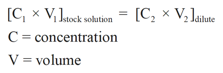 [CX ViJstock solution [C2 V2 Jaiute C concentration V volume