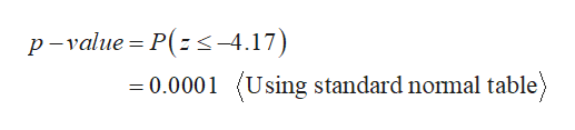 p-value P(s-4.17) Using standard nomal table) =0.0001