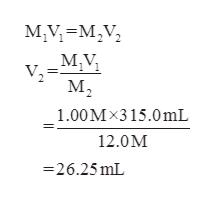 Mу-м,V, М; M,V М, 1.00Мx315.0mL 12.0М 26.25 mL