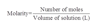 Number of moles Molarityolume of solution (L)