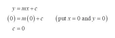 y mx +c (put x 0 and y 0) (0)=m(0)+c c = 0