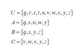 U = {q.r,s.t,u,v, w,x,y, z} A qs,u, w, y B-{q.s.y.z C {v,w,x, y.z}
