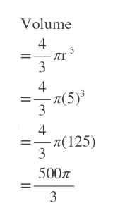 Volume лr 4 (5)3 3 -п(125) 3 500 3