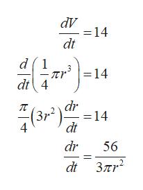 dV - = 14 dt d1 = 14 dt4 dr (3r2 - = 14 dt dr 56 dt 37mr2