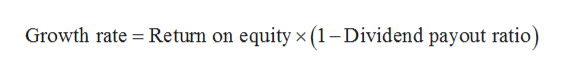 Return on equity x (1- Dividend payout ratio) Growth rate