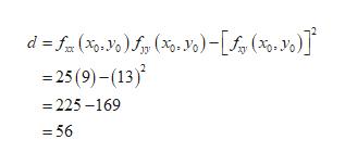 d f(X.). Y)-[ (x0, Yo) 25(9)-(13) =225-169 -56