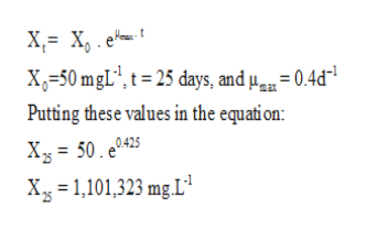 X X, e X=50 mgL', t=25 days, and u= 0.4d* Putting these values in the equation: Xy= 50. e0425 Xg 1,101,323 mg L