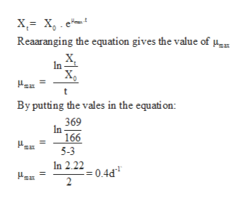 Reaaranging the equation gives the value of n Xg By putting the vales in the equati on: 369 In 166 max 5-3 In 2.2204d 2