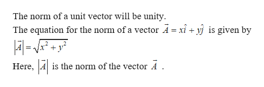 The norm of a unit vector will be unity The equation for the norm of a vector A= xi+ yj is given by -y2 + = Here is the norm of the vector A .