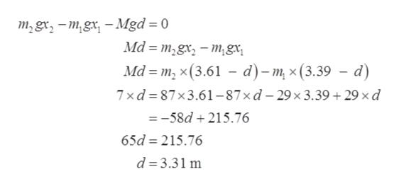 т,gx, - т,gx, —Mgd %3D 0 Ма %3 т,gx, — т,gx, Ма - т, х (3.61 —- d)-т, x (3.39 — d) 7xd387x3.61-87хd-29х3.39 + 29 хd =-58d215.76 65d 215.76 d 3.31 m