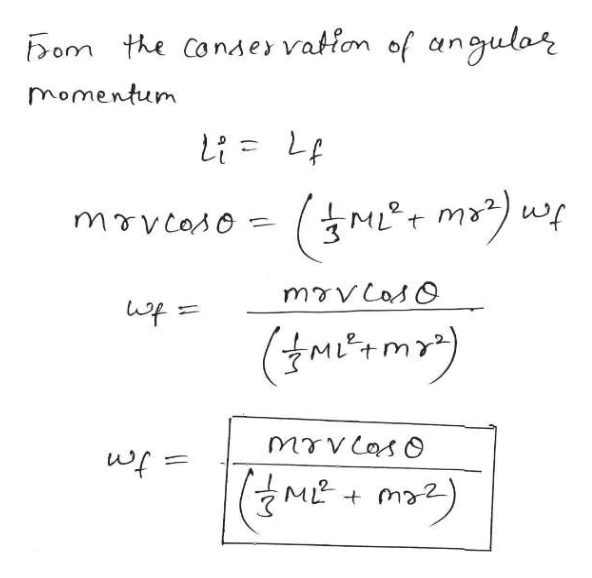 Dom the Consey vation of angulor momentum movcoso (tmenma) (ME