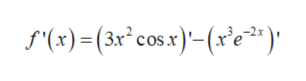 f'(x)(3xcosx)-(x'e)