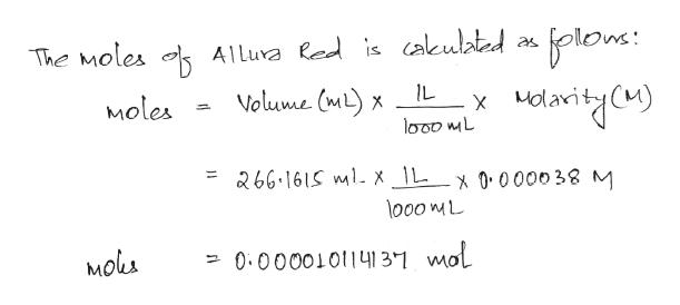 plon: The Moles Alluva led is cakulated Volume (m)x IL Moles 266.161S mlX \L_x 0000o38 M lo00 mL Mols -0.0000101141 3-1 mol