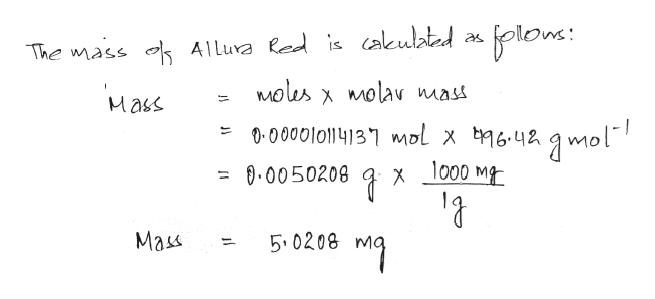 The mass Alluva led is cakulated alons Molus molav mass X Mass 1-0000l011413 l x 642mol 000 M 0.0050208 X Mass 5.0208