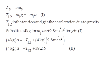 """Fy may 12-""""8a(1) T2 is the tension and gis the acceleration due to gravity Substitute 4kg for m, and9.8 m/s2 for gin (I) (4kg)a=12+(4kg)(9.8m/s2 (4kg)a=-T2+39.2N (II)"""
