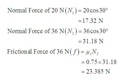 Normal Force of 20 N(N,) = 20 cos 30 =17.32 N Normal Force of 36 N(N,) = 36cos 30° =31.18 N Friction al Force of 36 N(f)= N =0.75x31.18 = 23.385 N