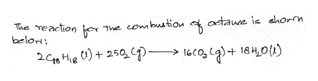 adaue is dhorm The reaction o belori the combustion 18H,0u) 2C He )250 9-> 16c0,)+