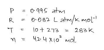 "0११S atw P o082 Latm/kmol"" R lot 273 T 283K 42- 410 MoL"