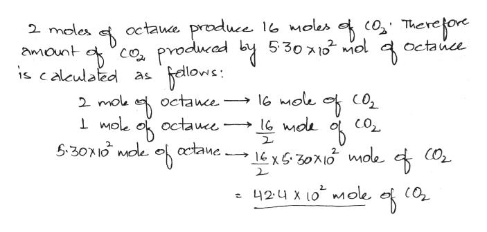 octaue produce 16 moles c Thereoe producad by 530 2 moles octauce x10 Ol co s calculated as amount octance 2 mok Mole octauce actane CO2 2 424 x 0 mole