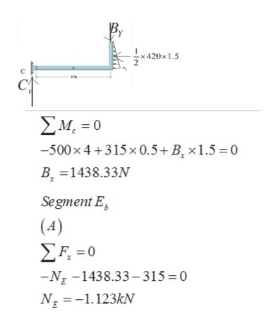 Β. x420x1.5 ΣΜ-0 -500x4+3 15 x 0.5+ Β, x 1.5 = 0 B 1438.33N Segment E |(4) ΣΗ-0 -NE-1438.33-315 0 N1.123kN