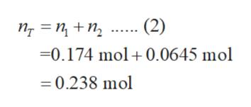 (2) пт 3 п +n, 0.174 mol 0.0645 mol =0.238 mol
