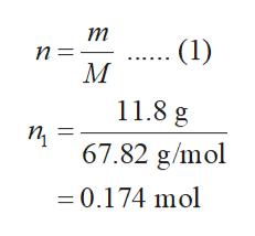 т п3 М (1) 11.8 g п 67.82 g/mol 0.174 mol