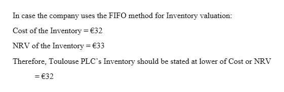 In case the company uses the FIFO method for Inventory valuation: Cost of the Inventory 32 NRV of the Inventory 33 Therefore, Toulouse PLC's Inventory should be stated at lower of Cost or NRV =€32