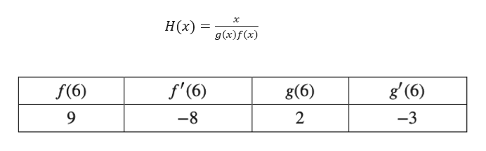 х Н(2) g(x)f(x) g (6) f'(6) f(6) g(6) 9 -8 2 -3