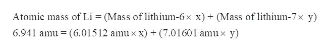 Atomic mass of Li (Mass of lithium-6x x) (Mass of lithium-7x y) 6.941 amu (6.01512 amu x x) + (7.01601 amu x y)