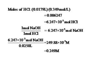 Moles of Ha: (001791.) (0349mal/L) 0.006247 6247x10'mal H Imal NaOH6247x10'md NaOH Imal Ha 6247x10'md NaOH249.88x10M 0.0250L -0249M