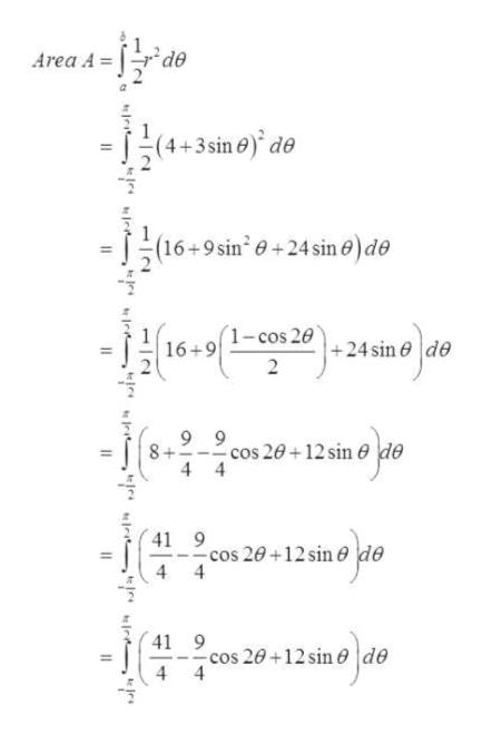 de Area A = 4+3sin 6) de (16+9 sin e+24 sin e) de (1-cos 20 16+9 +24 sin e Пgo cos 20+12 sin 4 4 41 9 -cos 20 +12 sin e 4 41 9 -cos 20+12 sin 0 4