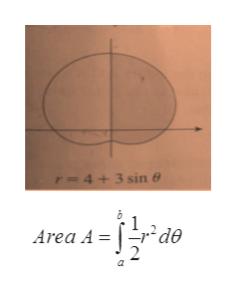 T-4+3 sin e Area A = | de