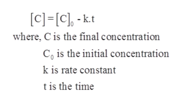 [c] [c]-k.t where, C is the final concentration Co is the initial concentration k is rate constant tis the time