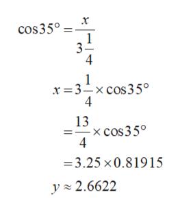 х cos35° 1 3 4 x 3-xcos35° 4 13 -x cos3 5° 4 3.25 x0.819 15 y 2.6622