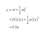 1 S1vt+at 2 -(0)(1s)a( 2 0.5a