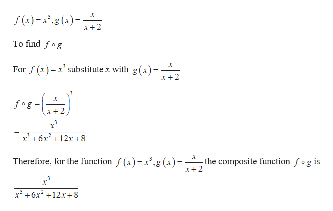f (x)=.g(x) X+2 To find fog For f(x) xsubstitute x with g(x)- x+2 3 fog x+2 36x212x+8 X Therefore, for the function f (x)= x',g(x)- the composite function fog is x+2 x3+6x212x+8