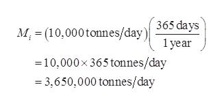M (10,000tonnes/day) 365 days 1 year 10,000x 365 tonnes/day =3,650,000 tonnes/day