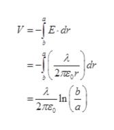 V=-jEdr  dr 2 Te In 2πε