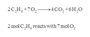 2C,H+702>4CO2+6H2O 2 mol C,H reacts with 7 mol O2