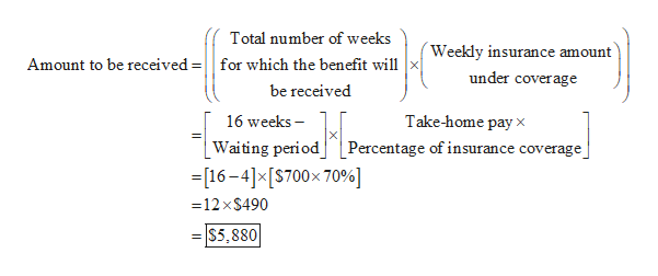Total number of weeks Weekly insurance amount Amount to be received =|for which the benefit will under coverage be received 16 weeks _Waiting periodPercentage of insurance coverage -16-4]*[S700x 70% Take-home pay x =12 x$490 S5,880
