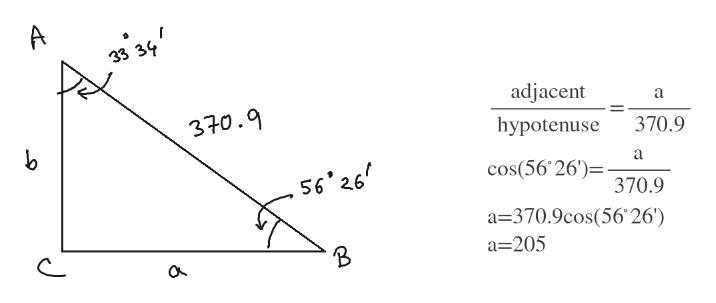 A 33 adjacent a 370.9 hypotenuse 370.9 a cos(56 26')= 370.9 a-370.9cos(56 26') 56'26 a 205 J